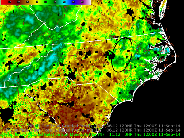 Figure 1.  SPoRT LIS 0-200 cm Relative Soil Moisture (%, RSOIM), valid 12Z 11 Sep 2014.  An area with RSOIM values around 50-60% is circled in black centered on the eastern part of the Raleigh forecast area.