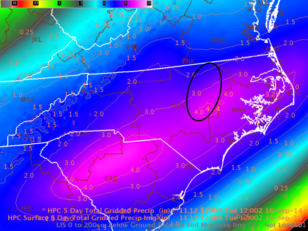 Image 2.  WPC (HPC in label) 5-Day Total Precipitation ending 12Z 16 Sep 2014.