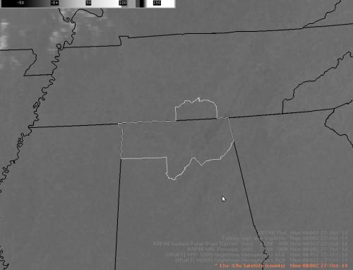 11-3.9 Micron GOES Imagery - 0800 UTC 27 October 2014