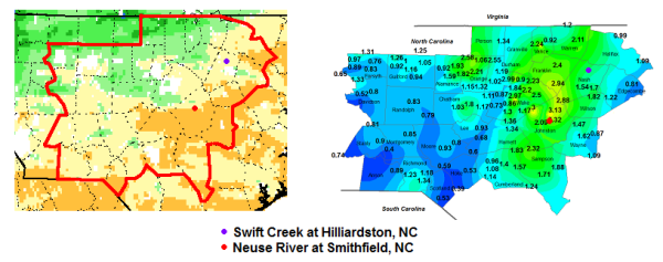 Fig. 4. Composite chart of the one-week change in total column relative soil moisture valid at 12 UTC on 14 October and the analyzed two day two day precipitation totals on 15 and 16 October 2014 along with the locations of the gages for the Swift Creek at Hilliardston and the Neuse River at Smithfield.