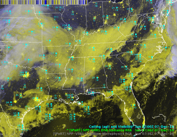 Suomi-NPP VIIRS Day-Night Band Radiance RGB 0736 UTC 7 Dec 2014.  Ceiling/Visibility observations are shown in cyan.  Notice that details of the extensive deck of low clouds can be seen more easily than in the Nighttime Microphysics RGB.