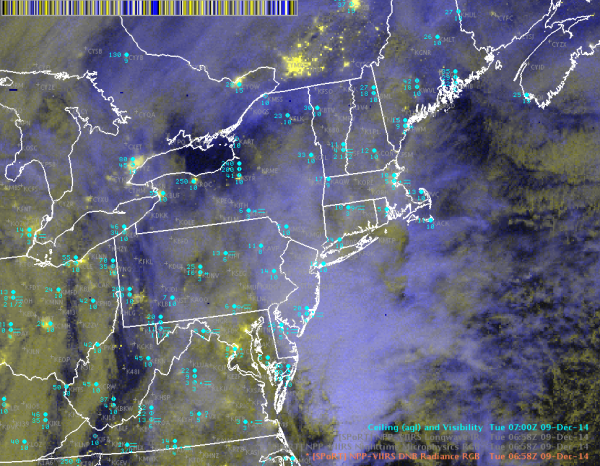Image 5.  VIIRS DNB Radiance RGB 0658 UTC 9 Dec 2014.  Ceiling/visibility observations shown in cyan.