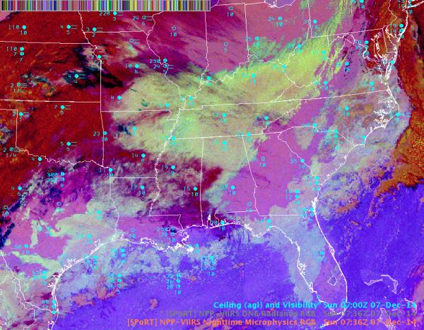 Image 1.  Nighttime Microphysics RGB 0736 UTC 7 Dec 2014