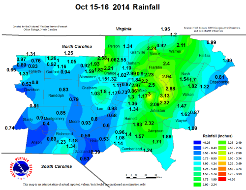 Fig. 1. Analyzed two day two day precipitation totals across the WFO RAH CWA on 15 and 16 October 2014.