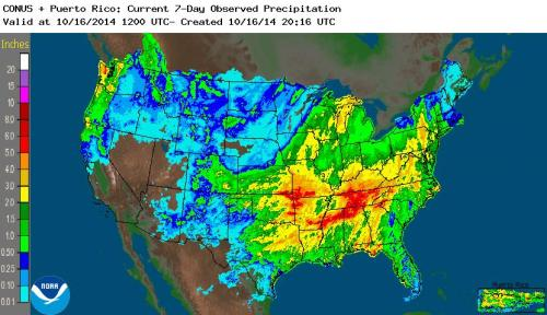 Fig 1.  Depiction of 7-day rainfall estimates from the Stage IV radar+gauge product, ending 1200 UTC 16 October 2014.
