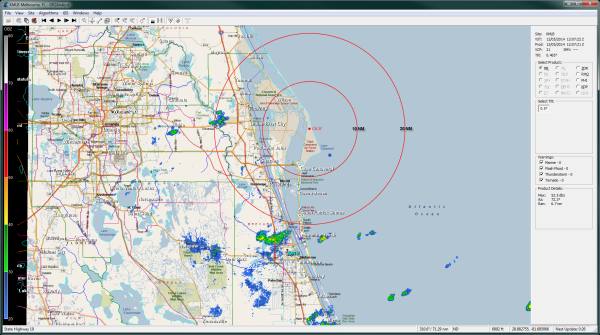 Figure 5.  Validating radar reflectivity at 1207 UTC 5 December 2014 (7:07 am EST), approximately corresponding to the time of the Orion launch aboard the Delta IV Heavy rocket.