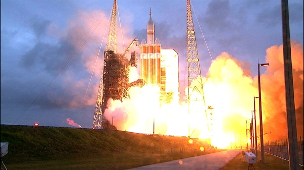 Fig 1. A Delta IV Heavy rocket lifts off from Space Launch Complex 37 at Cape Canaveral Air Force Station in Florida carrying NASA's Orion spacecraft on an unpiloted flight test to Earth orbit. (photo credit: NASA)