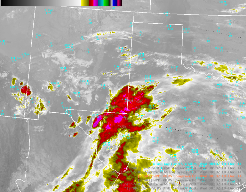 VIIRS color-enhanced IR (10.8 u m) image 0819 UTC 10 Dec 2014.  Ceiling/visibility observations are shown in cyan.