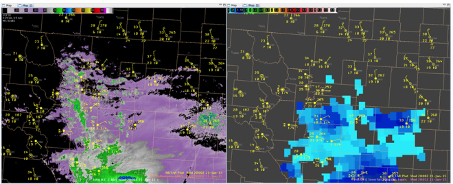 Comparison between radar and SFR at 20Z on 21 Jan 2015.