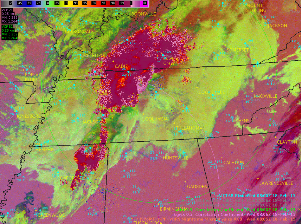 Image 2.  VIIRS Nighttime Microphysics RGB overlaid with Correlation Coefficient (CC) values from KOHX and KGWX radars