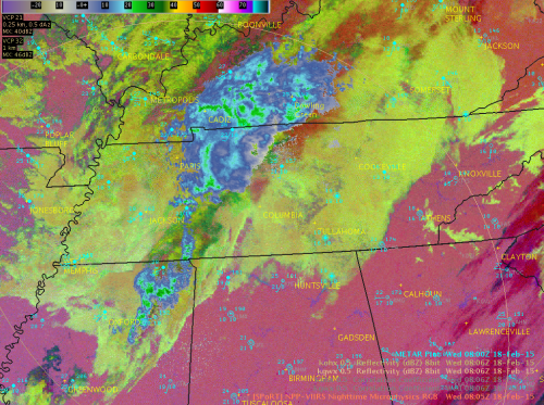 Image 3.  VIIRS Nighttime Microphysics RGB overlaid with 0.5 Reflectivity from KOHX and KGWX radars
