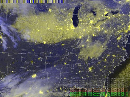 Image 3.  Suomi-NPP VIIRS DNB Radiance RGB 0728 UTC 4 Feb 2015