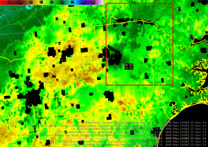 Fig. 3. The SPoRT LIS 0-200 cm relative soil moisture (%) analysis valid at 15 UTC on 22 December 2014 with the WFO CWAs outlined in yellow.