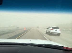 picture of dust affecting travel in the Salt Lake City area, 14 Apr 2015...picture tweeted by Jed Boal of KSL5 TV.