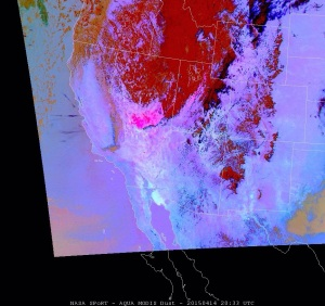 MODIS image showing blowing dust (pinkish areas) in the Great Basin and central Utah, ~20 UTC 14 Apr 2015