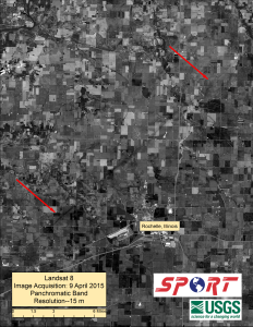 Landsat-8 Panchromatic Band at 15 m resolution showing portion of the EF-4 tornado track northwest of Rochelle, Ill.