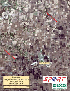 Landsat-8 True Color image at 30 m resolution showing a portion of the EF-4 tornado track northwest of Rochelle, Ill.