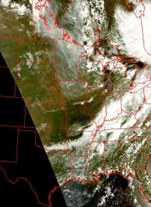 VIIRS True Color image on June 8, 2015 at 1826 UTC showing smoke over Upper Midwest