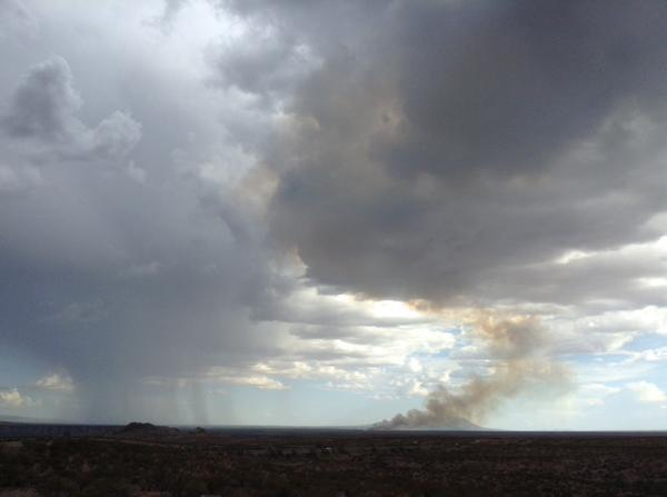 Figure 2. A distant view of the Fort Craig wildfire captured by the New Mexico State Climatologist, Dave DuBois, around 830am, July 27, 2015.