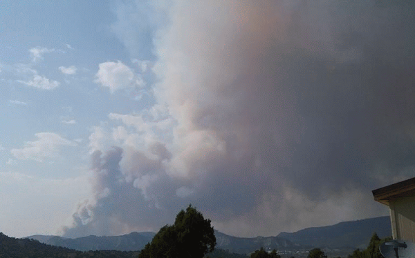 Navajo River Fire captured by Bryon Odallac on August 20, 2015 near Dulce, NM.