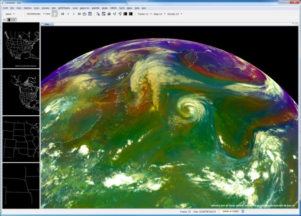 NASA SPoRT AHI Air Mass RGB in AWIPS-II 9 Sept. 2015 2000 UTC.