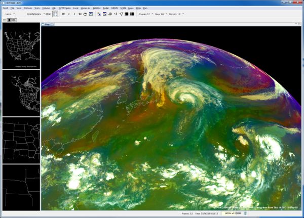 NASA SPoRT AHI Air Mass RGB in AWIPS-II 10 Sept. 2015 1450 UTC. Tropical Storm Kilo beginning to interact with the remnants of Tropical Storm Etau.