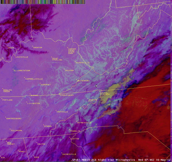 Image 4. Nighttime Microphysics image depicting fog and low clouds (white-aqua colors) in portions of the southern and central Appalachian region.