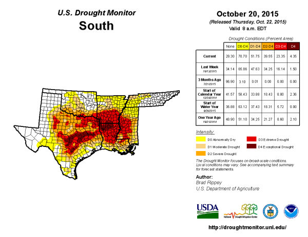 Image 2.  US Drought Monitor over the South Region, 20 October 2015