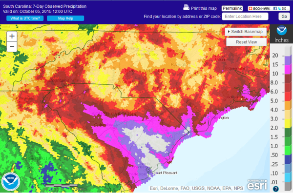 Fig. 1. NWS River Forecast Center rainfall analysis for the week ending 1200 UTC 5 October 20125.