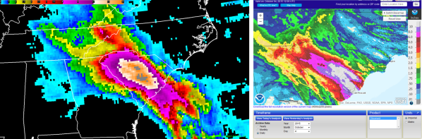 Fig. 2. Comparison of NASA Integrated Multi-satellitE Retrievals for GPM (IMERG) rainfall estimate to the NWS/River Forecast Center analysis for the 24-hour period ending 1200 UTC 4 October 2015.