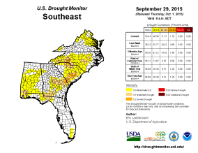 Fig. 2. U.S. Drought Monitor weekly drought product valid 29 September 2015.