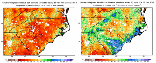 Fig. 3. SPoRT-LIS total column (0-2 m) relative soil moisture valid on (left panel) 28 September, and (right panel) 5 October 2015.