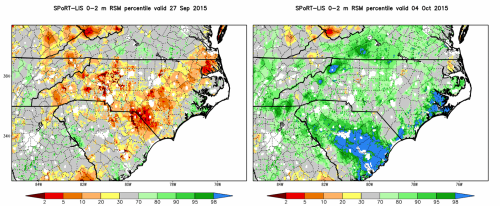 Fig. 5. Experimental SPoRT-LIS total column relative soil moisture percentile product, valid at 1200 UTC on (left panel) 27 September, and (right panel) 4 October 2015.