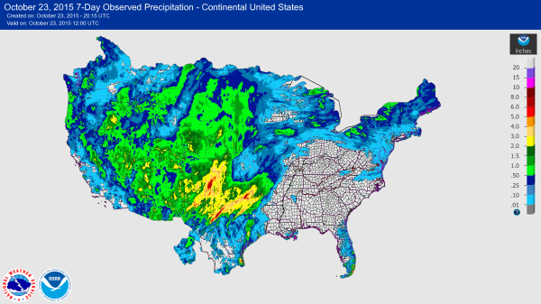 7-Day Observed Precipitation over the Continental U.S., courtesy of the National Weather Service.  Data ending 12 UTC 23 Oct 2015.  Notice the heavy rainfall across the Southern Plains.