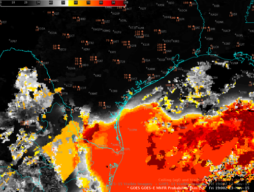 Image 2. GOES-R FLS MVFR Probability product at 1900 UTC 13 Nov 2015. Note that based on the color scale (top left) black colors cover much of this area of clouds in southern/eastern TX, with the exception of a small area in far Southern TX near Brownsville and adjacent areas to the south and east.
