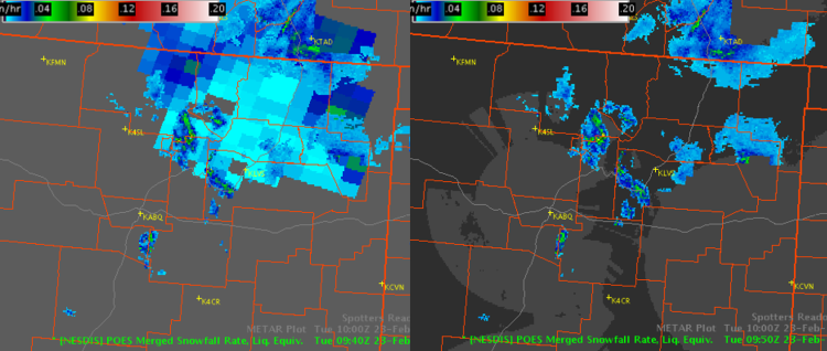 Figure 3. Merged SFR product from 0940 UTC (left) and 0950 UTC (right) showing snowfall detection in radar void area of northeastern New Mexico.