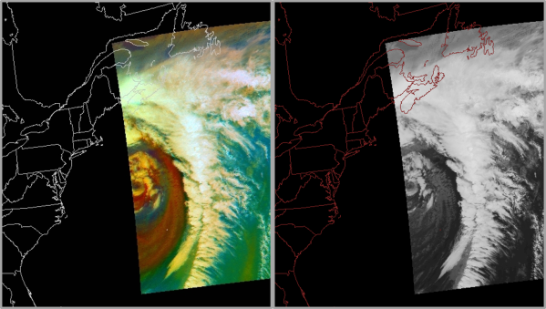 MODIS Air Mass RGB (left) and 11 um image (right) from 08 February 2016 at 1427 UTC.