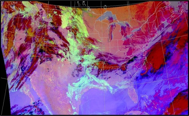 Nighttime Microphysics RGB: Stratus and Fog Cover much of the Great Plains and South, March 2017