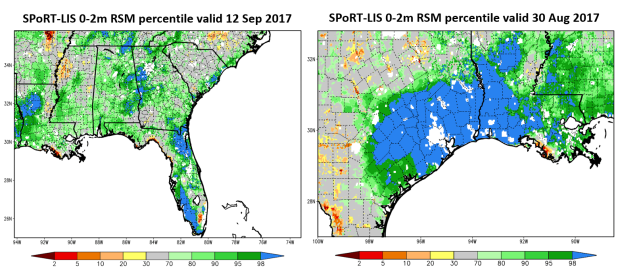 Comparison of Soil Moisture Response in Hurricanes Harvey and Irma